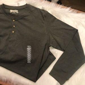 Men's Levi's XL Olive Green Long Sleeve Henley NWT